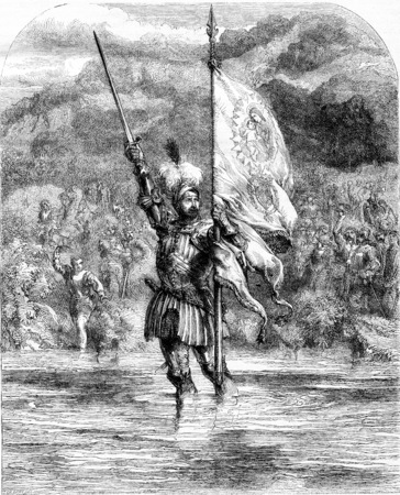 29 November 1513, Balboa takes possession of the South Sea in the name of Castile and the kingdom of Leon, vintage engraved illustration. Magasin Pittoresque 1855.