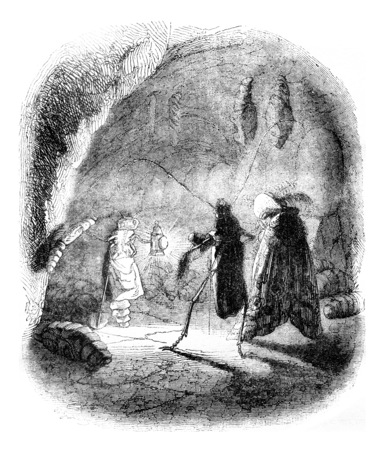Philosophical maintenance in the Catacombs, vintage engraved illustration. Magasin Pittoresque 1841.