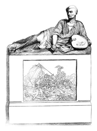 1841 Sculptor Show, Tomb of Gericault, marble, vintage engraved illustration. Magasin Pittoresque 1841. Standard-Bild - 107852172