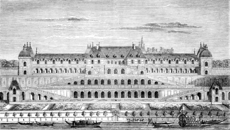 Chateauneuf de Saint-Germain, built under Henri IV, continued by Louis XIII and Louis XIV, vintage engraved illustration. Magasin Pittoresque 1844.