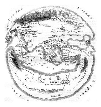 Homers map of the world, vintage engraved illustration. Magasin Pittoresque 1846. Stock Photo