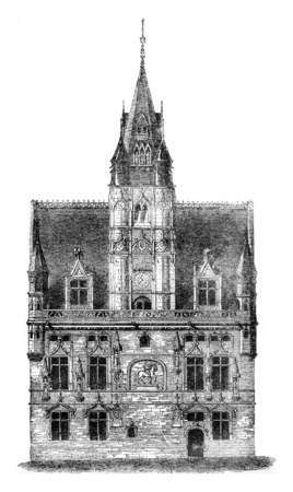City Hall Compiegne, after a drawing of exhibits at the 1841 show, vintage engraved illustration. Magasin Pittoresque 1841. Stock fotó