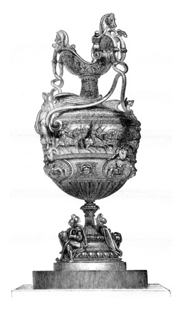 Vase wins in 1841 at the Goodwood Races, England, vintage engraved illustration. Magasin Pittoresque 1841. 写真素材