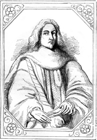 Christophe de Thou, first president to parliament under Charles and Henry, vintage engraved illustration. Magasin Pittoresque 1844.