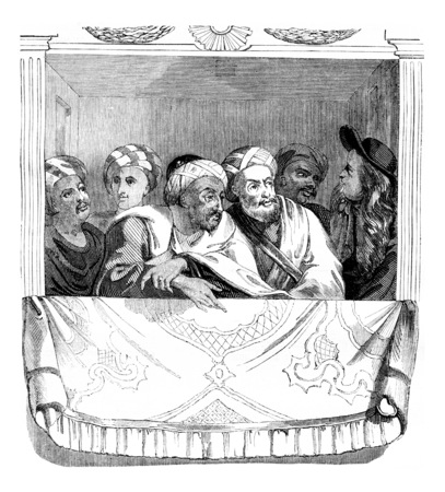 Moroccos ambassador and his officers in a box at the theater at the palace of Versailles, vintage engraved illustration. Magasin Pittoresque 1844.