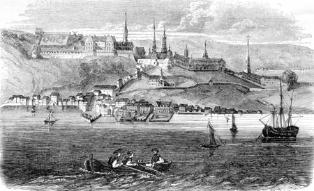 View of the city of Quebec, Canadas capital, vintage engraved illustration. Magasin Pittoresque 1844. Stock Photo