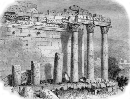 Colonnade of the Temple of the Sun, in Balbek, vintage engraved illustration. Magasin Pittoresque 1855.