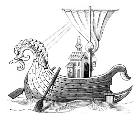Norman ship, after a manuscript of the Royal Library, vintage engraved illustration. Magasin Pittoresque 1844.