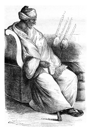 Imam of Dakar, The King of the St Andre River, vintage engraved illustration. Magasin Pittoresque 1841.