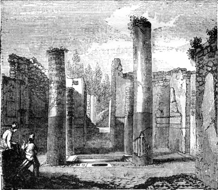 Tetrastyle atrium of the house of General Championnet, Pompeii, vintage engraved illustration. Magasin Pittoresque 1841.