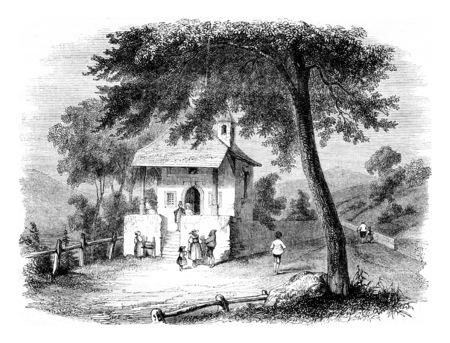 Chapel of Kussnacht, Switzerland, vintage engraved illustration. Magasin Pittoresque 1844. Stock fotó