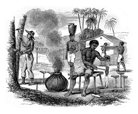 Manufacture of rubber footwear, in Para, Brazil, vintage engraved illustration. Magasin Pittoresque 1855.