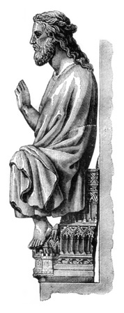 The great god of Therouanne in the Cathedral of Saint Omer, department of Pas de Calais, vintage engraved illustration. Magasin Pittoresque 1841. Фото со стока