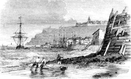 View of the port of Granville, department of Manche, vintage engraved illustration. Magasin Pittoresque 1844.
