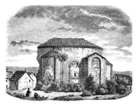 Ruins of the Church of Saint Leonard, External view of the apse, vintage engraved illustration. Magasin Pittoresque 1846. Фото со стока