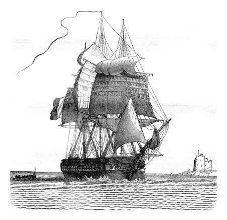 Fregate broken, viewed from starboard davit, vintage engraved illustration. Magasin Pittoresque 1841.
