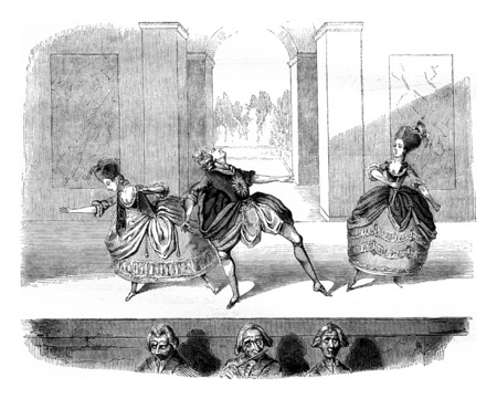 Scene of a ballet of Jason and Medea, vintage engraved illustration. Magasin Pittoresque 1846. 版權商用圖片