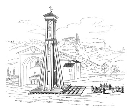 Transports Bell Chapel Crescentino, in 1776, vintage engraved illustration. Magasin Pittoresque 1844. Stock Photo