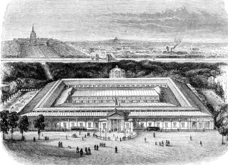 The Palace of the industry, to the square des Champs-Elysees in 1844, vintage engraved illustration. Magasin Pittoresque 1844.