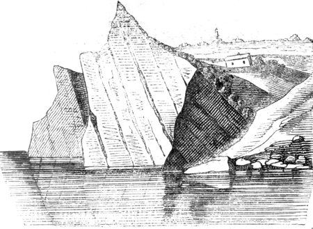 Escarpments by inclined layers, vintage engraved illustration. Magasin Pittoresque 1841. Stock Photo