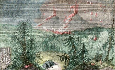 Erupción de cenizas y piedra pómez de los volcanes del cantal a principios del Plioceno, ilustración de la vendimia grabado. De la creación natural y los seres vivos.