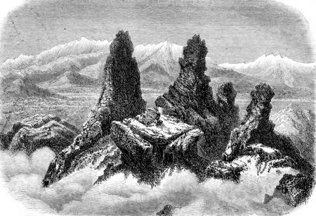 Peaks of Mount Argi, in ancient Cappadocia, near Cesaree, vintage engraved illustration. Magasin Pittoresque 1855. Stock Photo