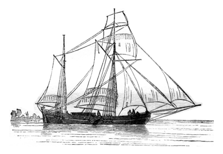 Galiote Dutch landed, moorings on starboard, viewed from the side, vintage engraved illustration. Magasin Pittoresque 1841. Stok Fotoğraf