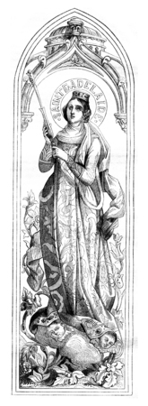 Saint Ferdinand of Castile and Saint Adelaide of Hungary, vintage engraved illustration. Magasin Pittoresque 1867.