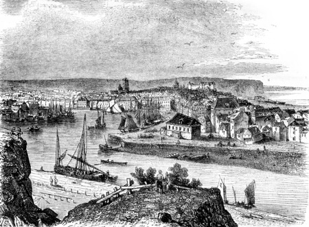 A view of Dieppe, vintage engraved illustration. Magasin Pittoresque 1844.