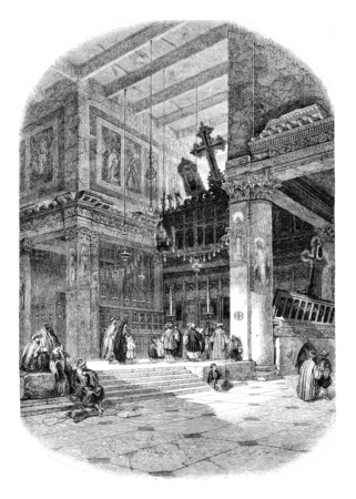 Interior view of the Church of St, Mary, founded by St, Helena, in Bethlehem, vintage engraved illustration. Magasin Pittoresque 1846. Zdjęcie Seryjne