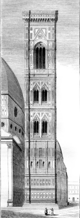 Campanile of Santa Maria del Fiore, Cathedral of Florence, vintage engraved illustration. Magasin Pittoresque 1844. Фото со стока