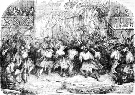 A Carnival Scene in Haiti in 1838, after the sketch of a traveler, vintage engraved illustration. Magasin Pittoresque 1841. Stock fotó