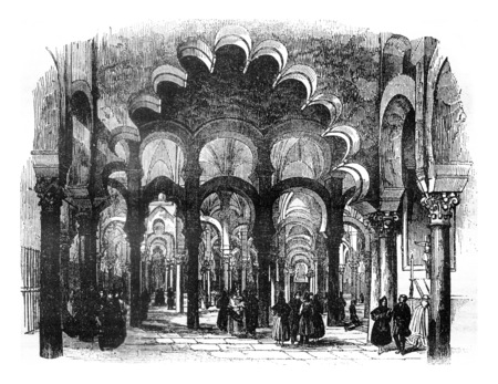 View inside the Cathedral of Cordoba, vintage engraved illustration. Magasin Pittoresque 1841. Foto de archivo - 107852862