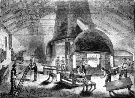 Interior of a crystal factory, vintage engraved illustration. Magasin Pittoresque 1841. Stockfoto