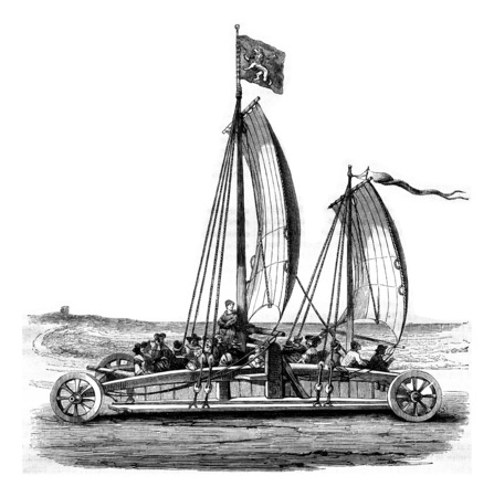 The tank has sails scheveling, vintage engraved illustration. Magasin Pittoresque 1844. Фото со стока