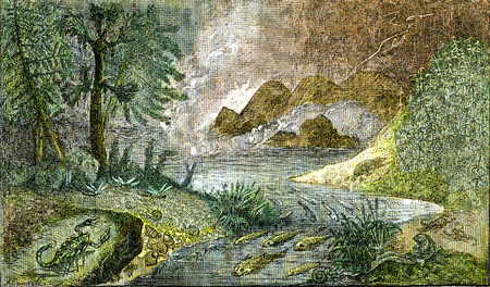 Settlement of the mainland and fresh waters at the Permian period, vintage engraved illustration. From Natural Creation and Living Beings.