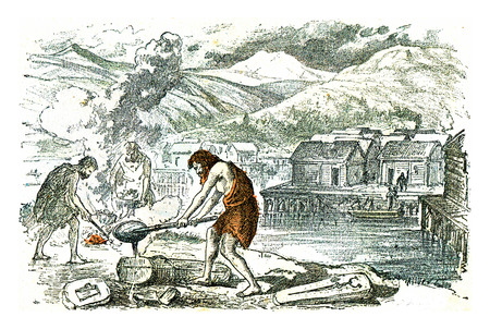 A foundry workshop on the outskirts of a lake town, in the Bronze Age, vintage engraved illustration. From Natural Creation and Living Beings. Reklamní fotografie
