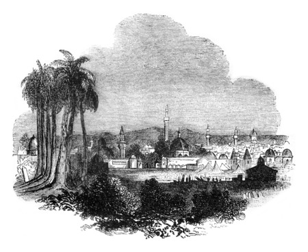 View of Damascus, Syria, vintage engraved illustration. Magasin Pittoresque 1841. Stock Photo