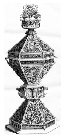 Sixteenth century, Saltshaker gilt and enamelled, vintage engraved illustration. Magasin Pittoresque 1855. Stockfoto