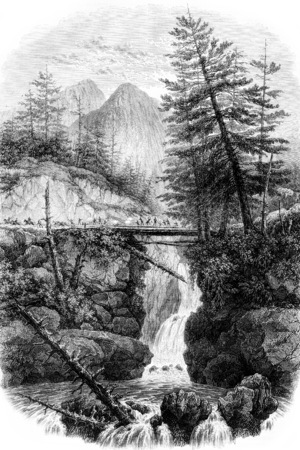 View of Spain Bridge in the valley of Cauterets, Hautes-Pyrerees, vintage engraved illustration. Magasin Pittoresque 1844.