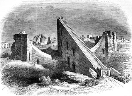 Vista di Jantar Mantar, o osservatorio reale di Delhi in Hindustan, vintage illustrazione inciso. Magasin Pittoresque 1841.