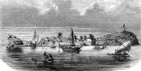 Ardrian Souli, former Sultan of Mayotte, vintage engraved illustration. Magasin Pittoresque 1855.