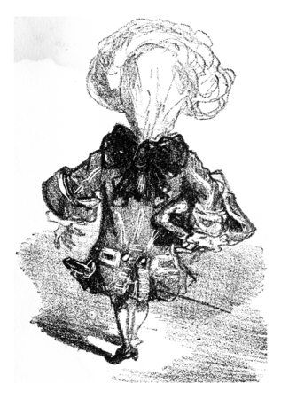 Men running cues to carry the toad, vintage engraved illustration. From The Tortures of Fashion.