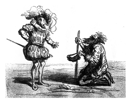 The Lords had taken the part that no longer lost time to find their pocket in the midst of the sumptuous overtures that perplexed costume, vintage engraved illustration. From The Tortures of Fashion.