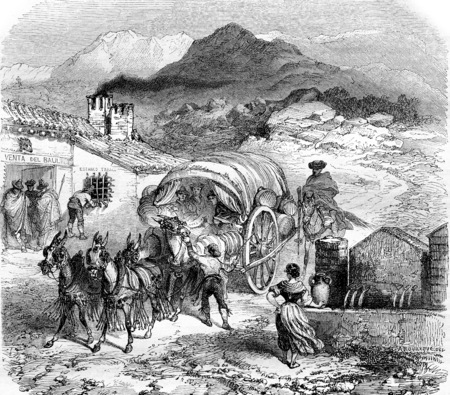 Galera arriving at a hostel in the Sierra Nevada, vintage engraved illustration. Magasin Pittoresque 1855.