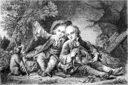 The Little Savoyards, vintage engraved illustration. Magasin Pittoresque 1858. 写真素材