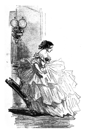 The Crinoline, vintage engraved illustration. From The Tortures of Fashion.