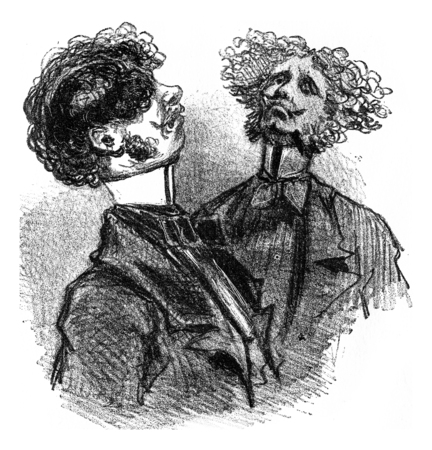 The Carcass, or Straight Collar, very tight, vintage engraved illustration. From The Tortures of Fashion. Imagens
