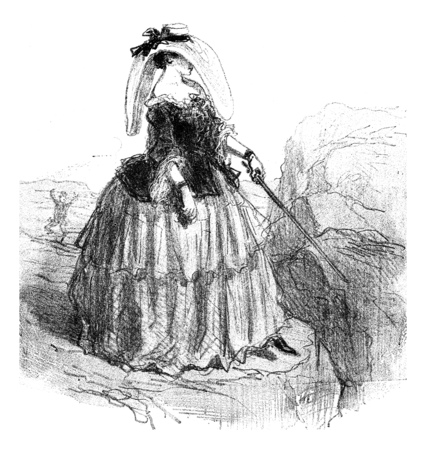 The Pamela hat, vintage engraved illustration. From The Tortures of Fashion.