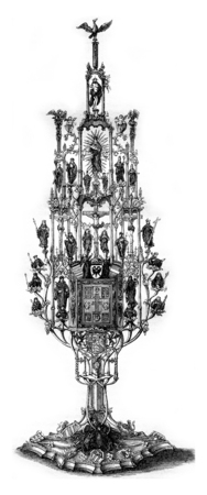 Ostensor or Silver Reliquary of the fifteenth century, vintage engraved illustration. Magasin Pittoresque 1855.